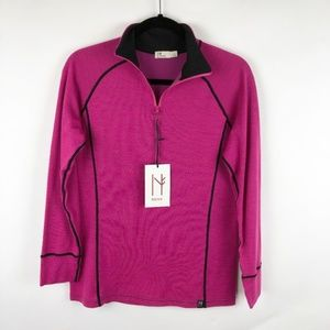 NWT Neve Wool Blend Zip Pink Black Trim Sweater L